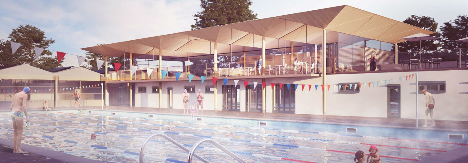 Artist impression of the building development from poolside
